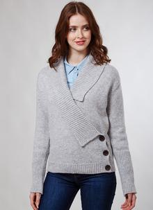 Fisherman Wool Cashmere Cross Front Cardigan